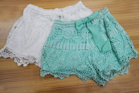 Sweet Bow Knot Lace Embroidery Short Pants