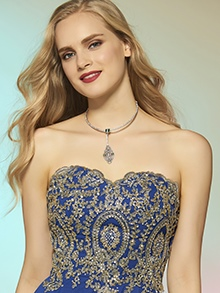 A Line Scoop Long Sleeves Beading Button Prom Dress